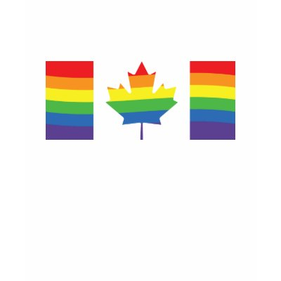 Rainbow within the Canadian Maple Leaf flag for proud gay Canadians
