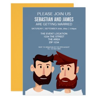 Gay Cartoon Grooms With Beards Wedding Themed Card