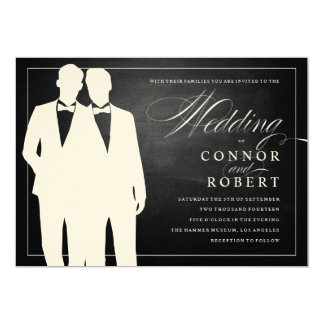 Gay Chalkboard Wedding Two Grooms Silhouettes 5x7 Paper Invitation Card