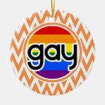 Gay; Chevron anaranjado y blanco Ornamentos De Reyes Magos