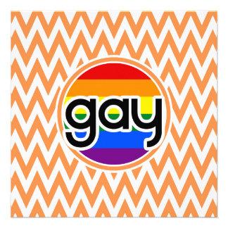 Gay Chevron anaranjado y blanco Comunicados Personalizados