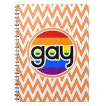 Gay; Chevron anaranjado y blanco Libretas Espirales