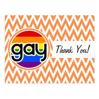 Gay; Chevron anaranjado y blanco Tarjeta Postal