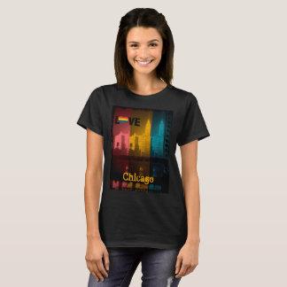 Gay Chicago Wrigley Building Love Rainbow vintage T-Shirt