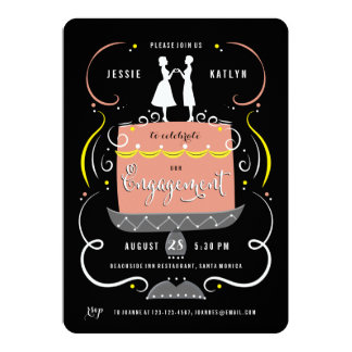 Gay Couple Cake Topper Engagement Party Invitation