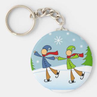 gay couple ice skating keychain
