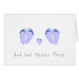 Gay Couple New Baby Boy - And One Makes Three Card
