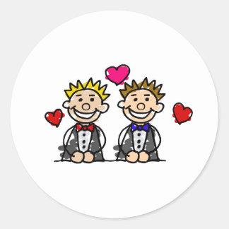 Gay Couple Classic Round Sticker