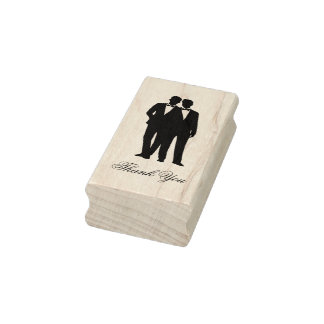 Gay Couple Tuxedo Bow Tie Grooms Rubber Stamp