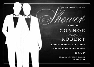 gay couple wedding shower invitation chalkboard