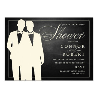 Gay couple wedding shower invitation chalkboard