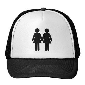 Gay couple (women) hand in hand trucker hat
