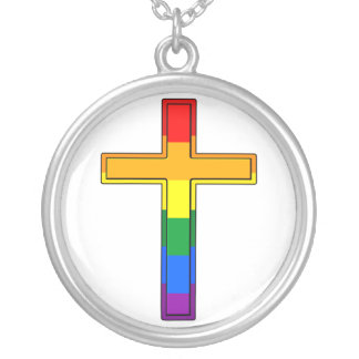 Gay Cross Round Pendant Necklace