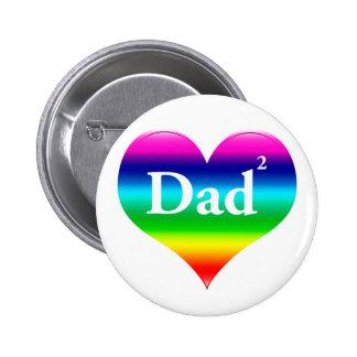 Gay Dad Squared LGBT Pinback Button