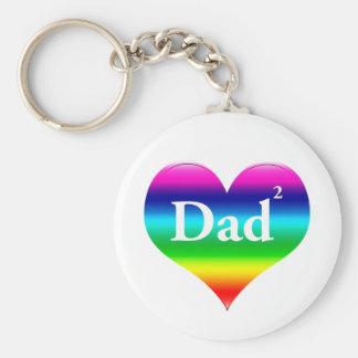 Gay Dad Squared LGBT Basic Round Button Keychain