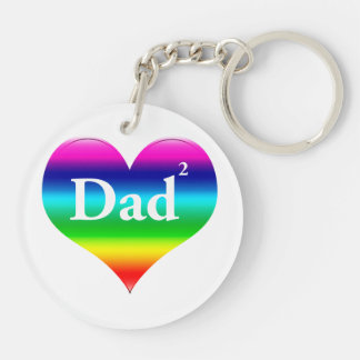 Gay Dad Squared LGBT Double-Sided Round Acrylic Keychain
