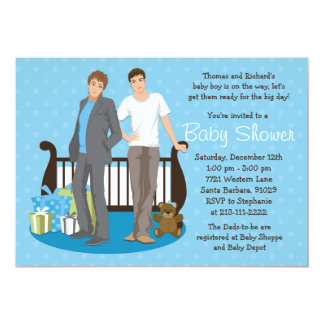 Gay Dads Baby Shower Invitation for Boy