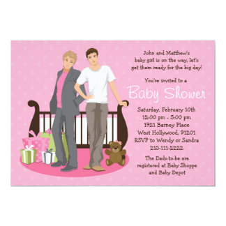 "Gay Dads Baby Shower Invitation for Girl 5"" X 7"" Invitation Card"