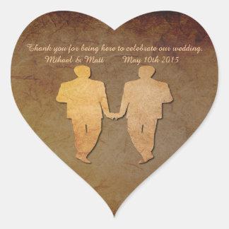 Gay Dark Rustic Wedding Heart Sticker