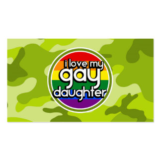Gay Daughter; bright green camo, camouflage Business Card