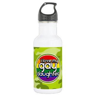 Gay Daughter; bright green camo, camouflage Stainless Steel Water Bottle