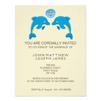 Gay Dolphin Love Heart Bubble Evening Reception Invitation