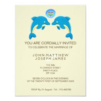 Gay Dolphin Love Heart Bubble Evening Reception 4.25x5.5 Paper Invitation Card