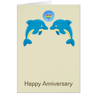 Gay Dolphins And Love Heart Bubble Anniversary Stationery Note Card