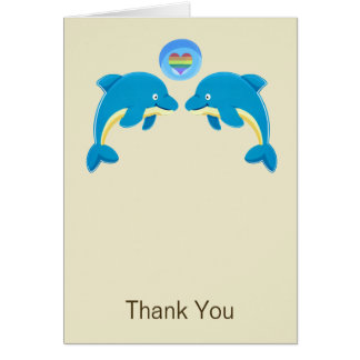 Gay Dolphins Love Heart Bubble Wedding Thank You Greeting Cards