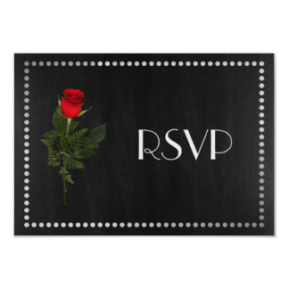 Gay Elegant Black and Silver RSVP with Rose 3.5x5 Paper Invitation Card