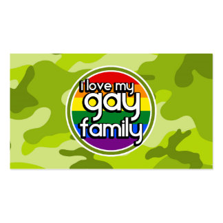 Gay Family; bright green camo, camouflage Business Card