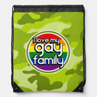 Gay Family; bright green camo, camouflage Drawstring Bag