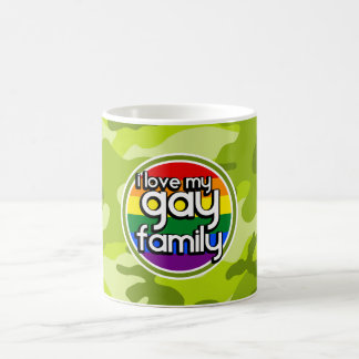 Gay Family; bright green camo, camouflage Mugs