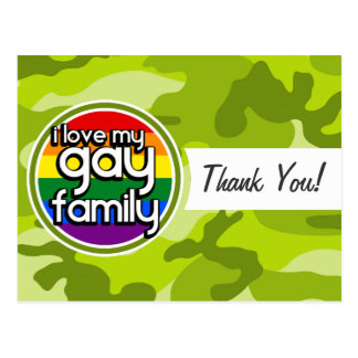 Gay Family; bright green camo, camouflage Postcard