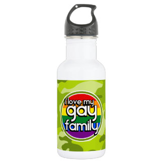 Gay Family; bright green camo, camouflage Water Bottle