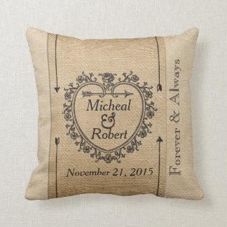 Gay Fancy Burlap Anniversary Date Heart Throw Pillow