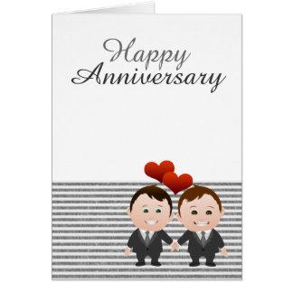 Gay feliz del aniversario de la enhorabuena tarjeta de felicitación