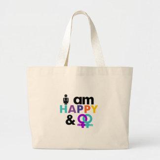 Gay feliz y LGBT aceptable Bolsa Tela Grande