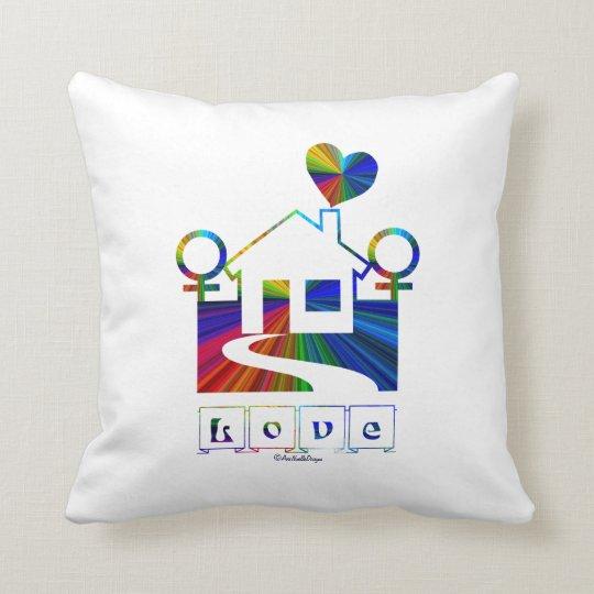 Gay Female Rainbow Home-Love Throw Pillow