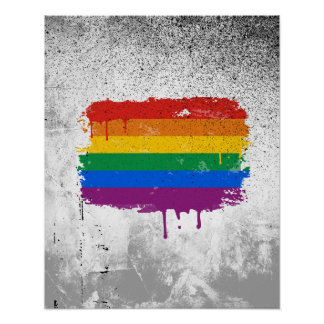 GAY FLAG DRIPPING POSTER