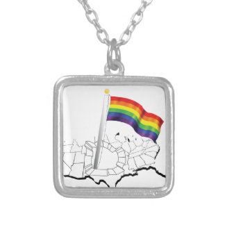 Gay Flag in USA Silver Plated Necklace