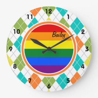 Gay Flag on Colorful Argyle Pattern Clock