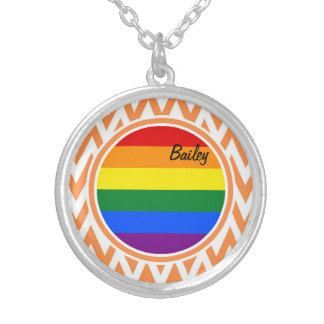 Gay Flag; Orange and White Chevron Jewelry