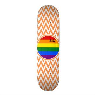 Gay Flag; Orange and White Chevron Skate Board Deck