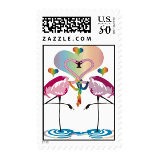 Gay Flamingos Postage Stamps
