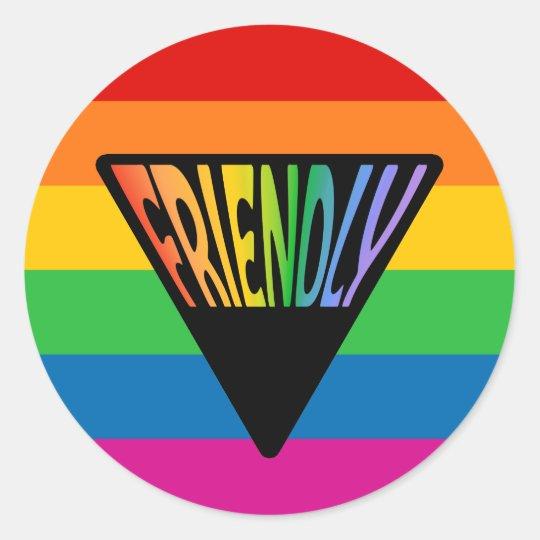 Gay Friendly Triangle Classic Round Sticker