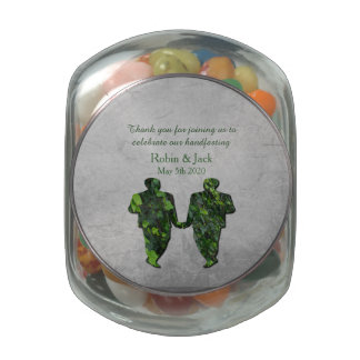 Gay Green Men Ivy & Silver Jelly Belly Jar Favor Glass Jars