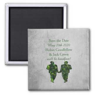 Gay Green Men Ivy & Silver Save the Date Magnet