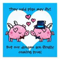 Gay groom pigs may fly wedding invitation