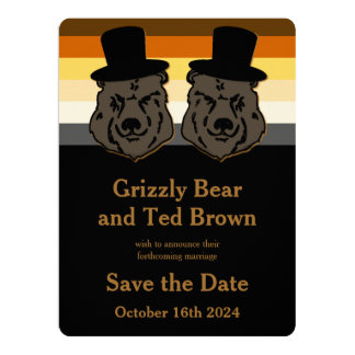 Gay Grooms Bear Save the Date Card Gold & Black